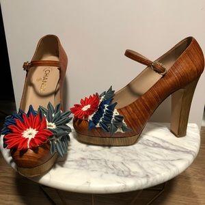 Wood Leather Flower Mary-Jane Platform Heel - 40